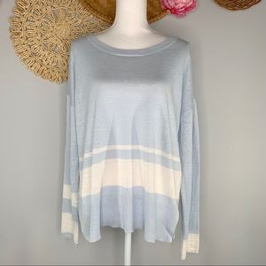 Lisa Todd Size Large Striped 100% Linen Pullover Top Blue White Boatneck Stretch